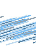 Blue and white abstract dynamic striped seamless border, vector template background