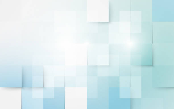Blue and white abstract geometric and rectangles background Blue and white abstract geometric and rectangles background square shape stock illustrations