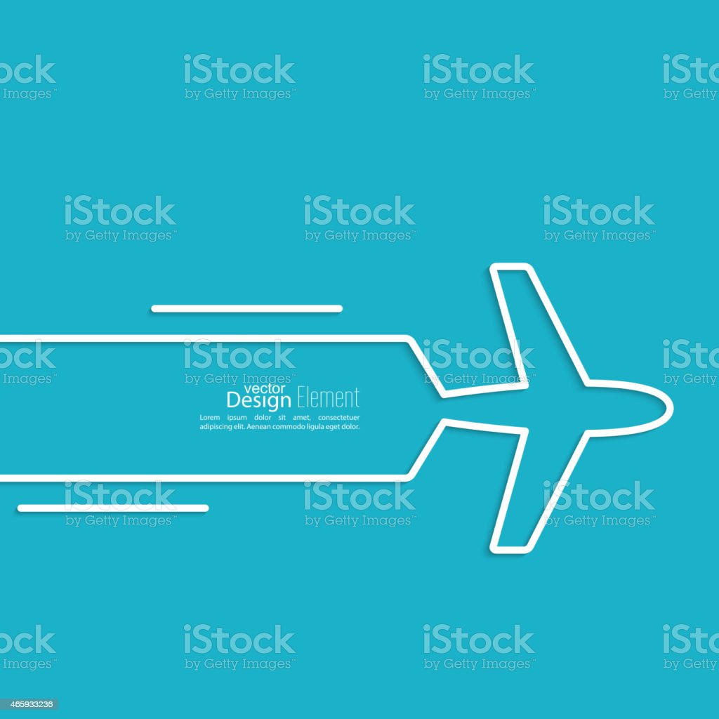 Blue and white airplane design vector art illustration
