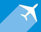 istock Blue And White Airplane icon 1000981114