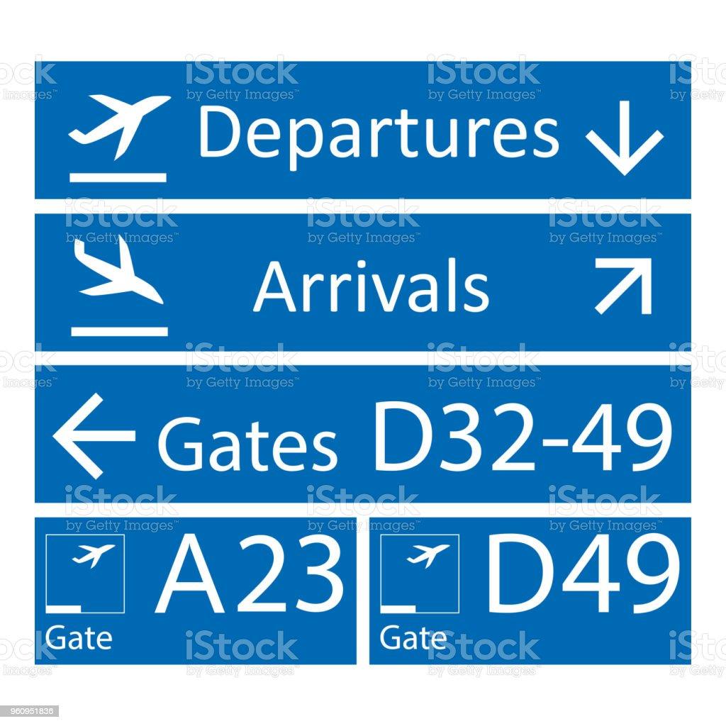 blue and white airport signs template stock vector art more images