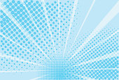 istock Blue and white background superhero. The background of the Book in comic style pop art. Lightning blast halftone dots. Cartoon vs. Vector Illustration 1163215469