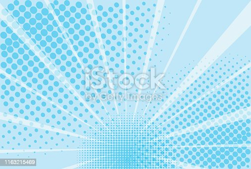 Blue and white background superhero. The background of the Book in comic style pop art. Lightning blast halftone dots. Cartoon vs. Vector Illustration