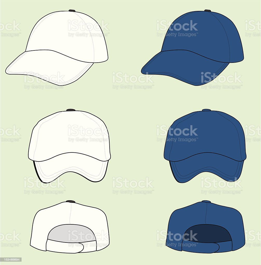 Blue and white baseball cap angles graphic royalty-free stock vector art