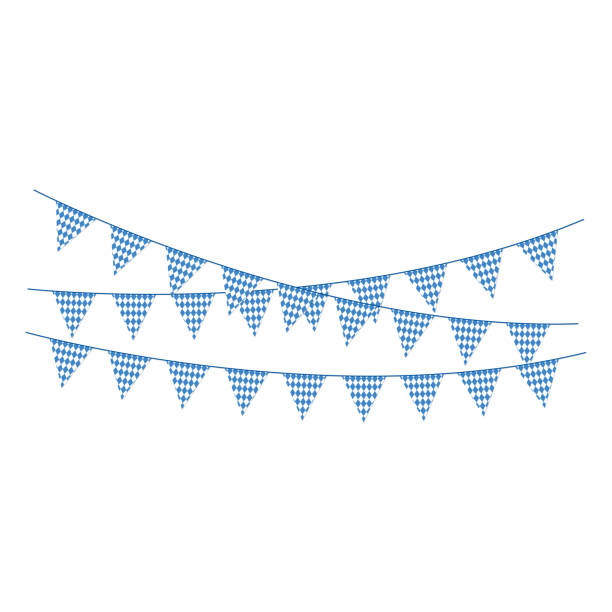 blue and white bunting banners - oktoberfest stock illustrations
