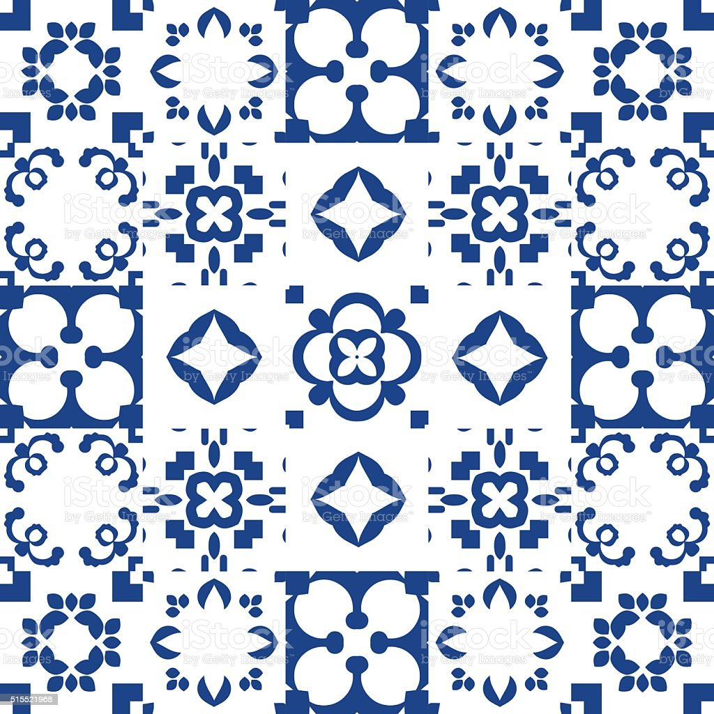 Blue and white ceramic tiles. Patchwork style vector art illustration