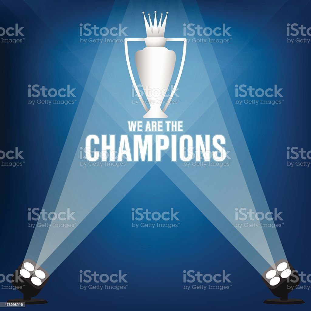 Blue and white Champions trophy vector with spotlight vector art illustration