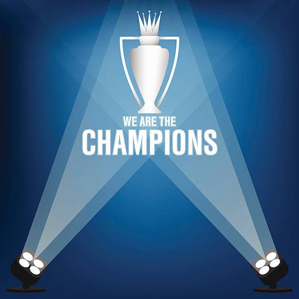stockillustraties, clipart, cartoons en iconen met blue and white champions trophy vector with spotlight - spotlicht belichting