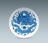 Blue and White China Plate (Dragon)