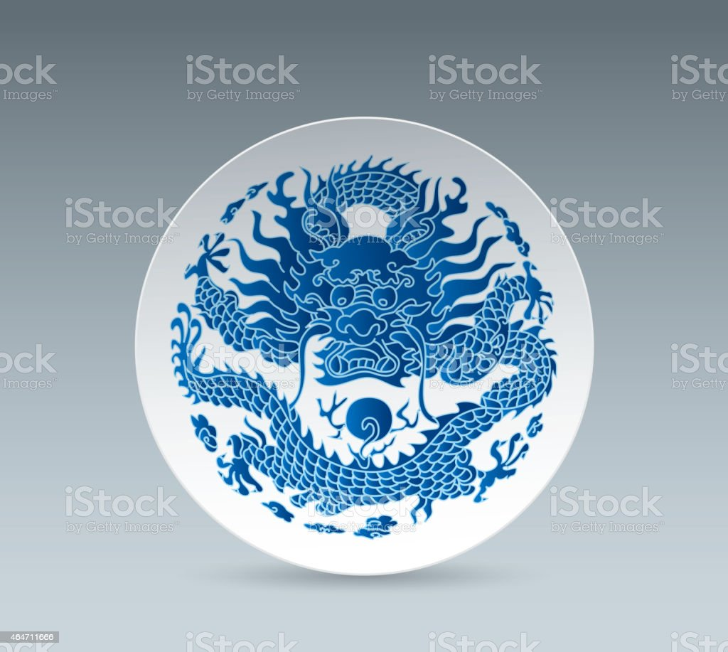 Blue and White China Plate (Dragon) vector art illustration