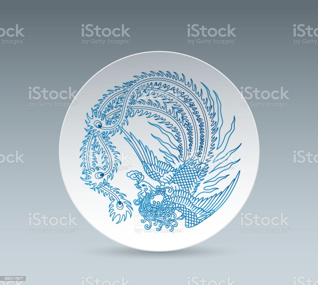 Blue and White China Plate (Phoenix) vector art illustration