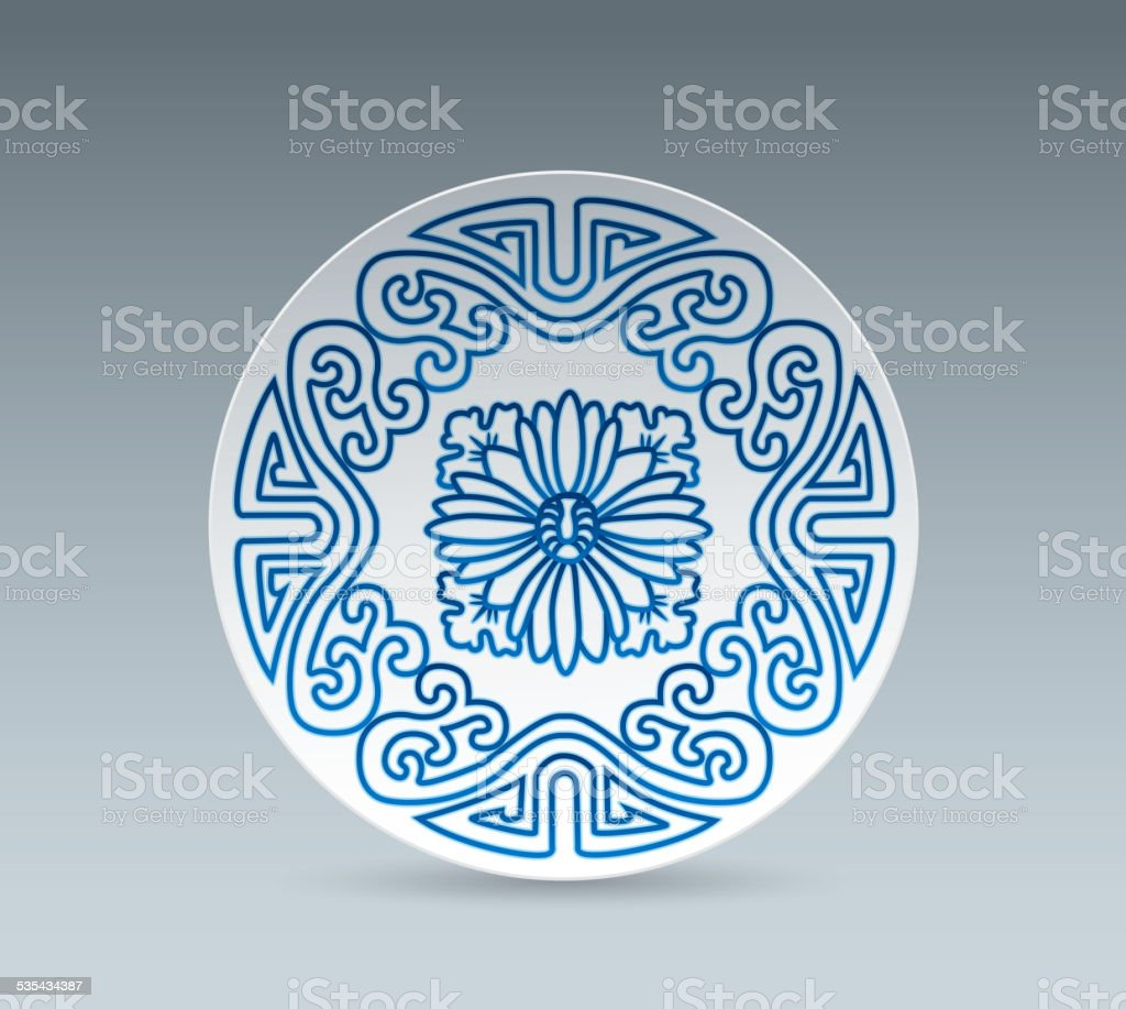 Blue and White China Plate (plant pattern) vector art illustration