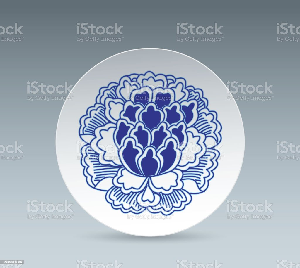 Blue and White China Plate (Peony flower) vector art illustration