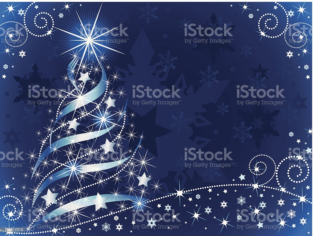 Blue and white Christmas tree with snowflake background royalty-free stock vector art
