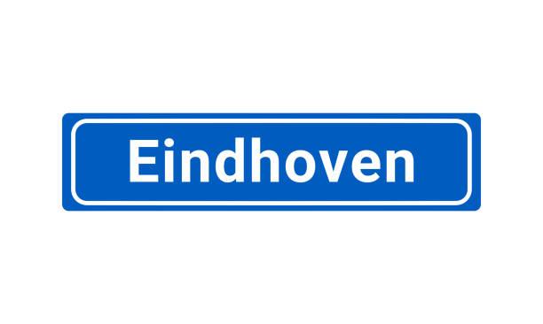 stockillustraties, clipart, cartoons en iconen met blauwe en witte stad teken van eindhoven - eindhoven