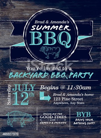 istock Blue and white country BBQ design template on wood background 465327370