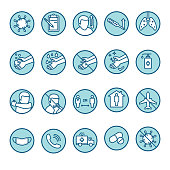A set of blue and white line art icons for Coronavirus (2019-nCoV) disease symptoms and preventions.