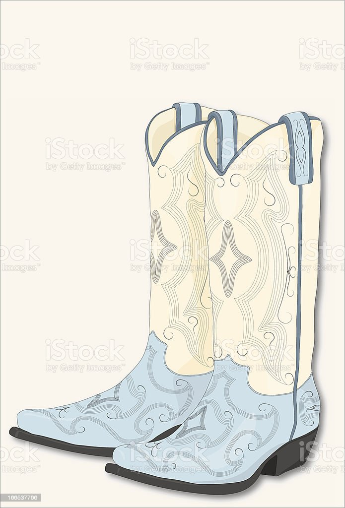 Blue and White Cowboy Boots vector art illustration