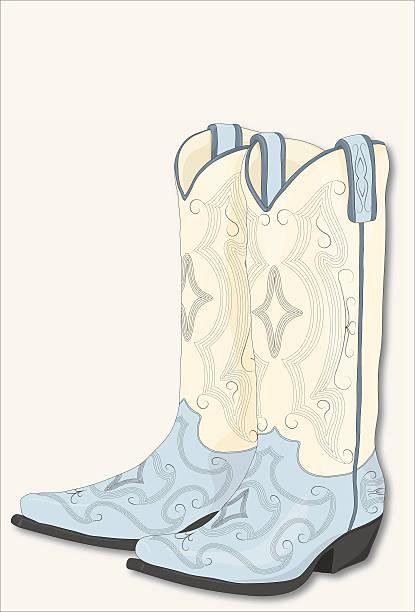 blau und weiß cowboy-stiefel - cowboystiefel stock-grafiken, -clipart, -cartoons und -symbole
