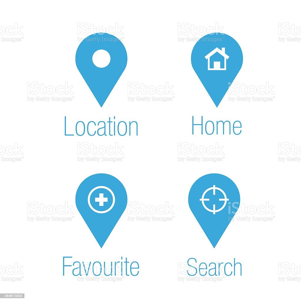 Blue and white destination icons vector art illustration
