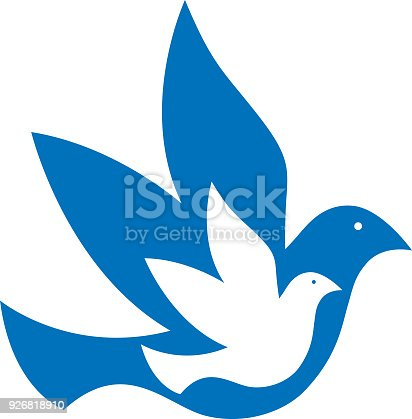 istock Blue And White Doves Icon 926818910