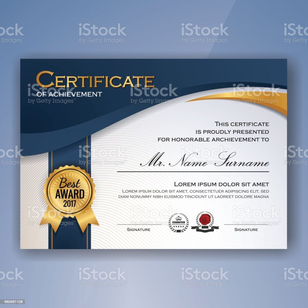 Blue and white elegant certificate of achievement vector art illustration