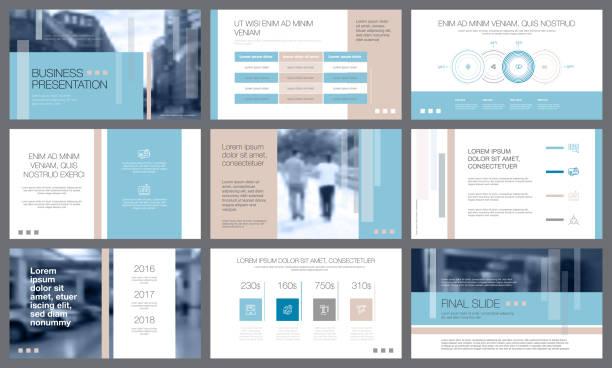 blaue und weiße elemente für folie präsentationsvorlagen - zeitschrift grafiken stock-grafiken, -clipart, -cartoons und -symbole