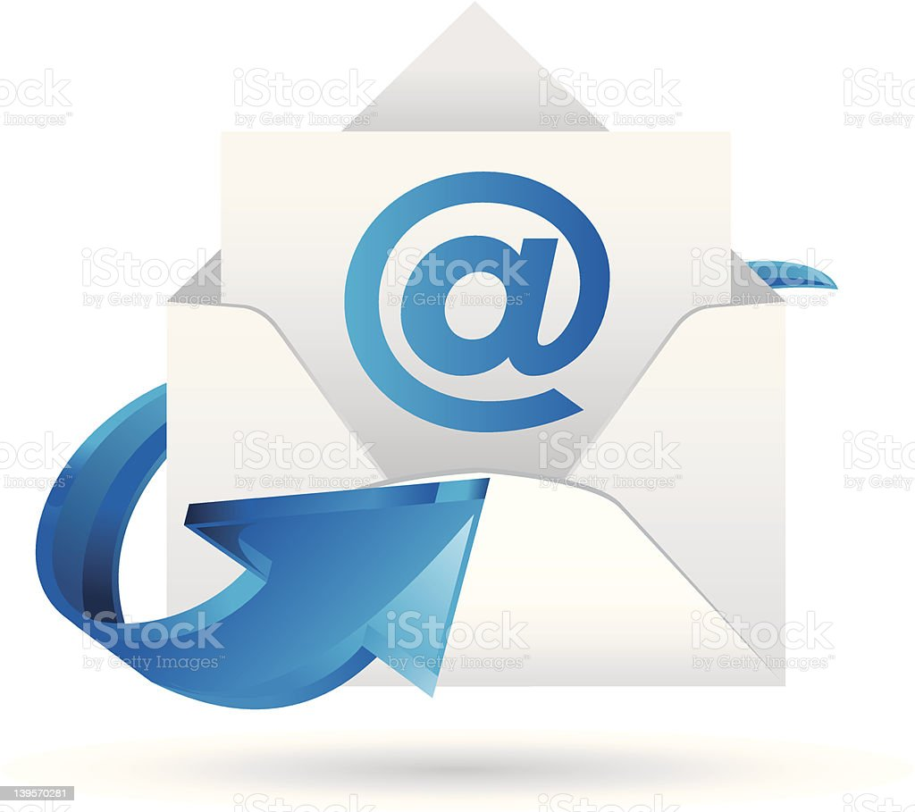 Blue and white email envelope icon royalty-free stock vector art