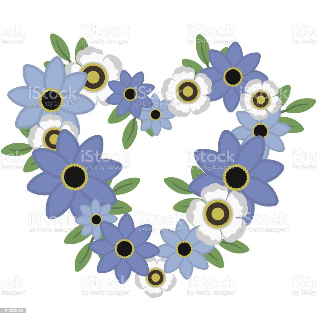 203eecdc8e94 Coração Floral azul e branca, em forma de grinalda ilustração vetores de  coração floral azul