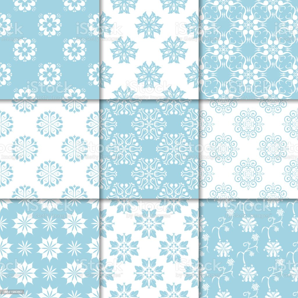 Blue and white floral ornaments. Collection of seamless patterns royalty-free blue and white floral ornaments collection of seamless patterns stock vector art & more images of abstract
