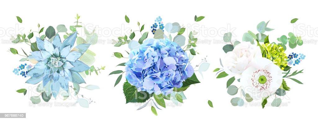 Ilustracion De Vector De Flores Azules Y Blancas Ramos De Diseno Y