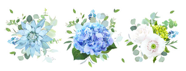 Vector de flores azules y blancas Ramos de diseño - ilustración de arte vectorial