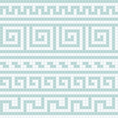 Blue and white geometric greek meander traditional seamless pattern, vector
