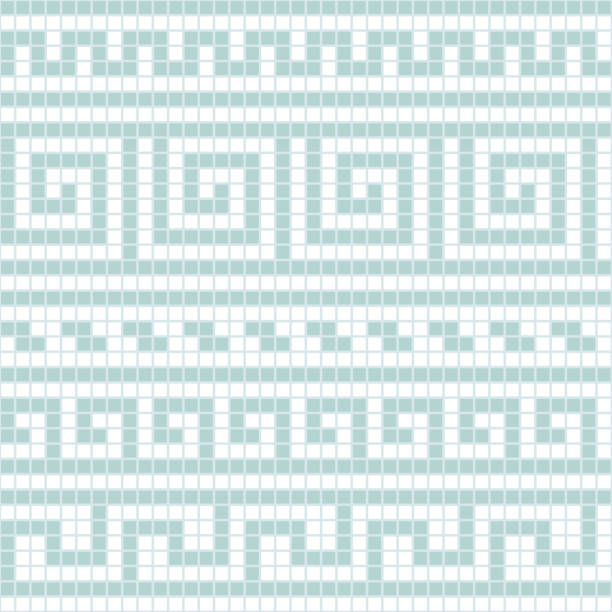 blue and white geometric greek meander traditional seamless pattern, vector - architecture borders stock illustrations