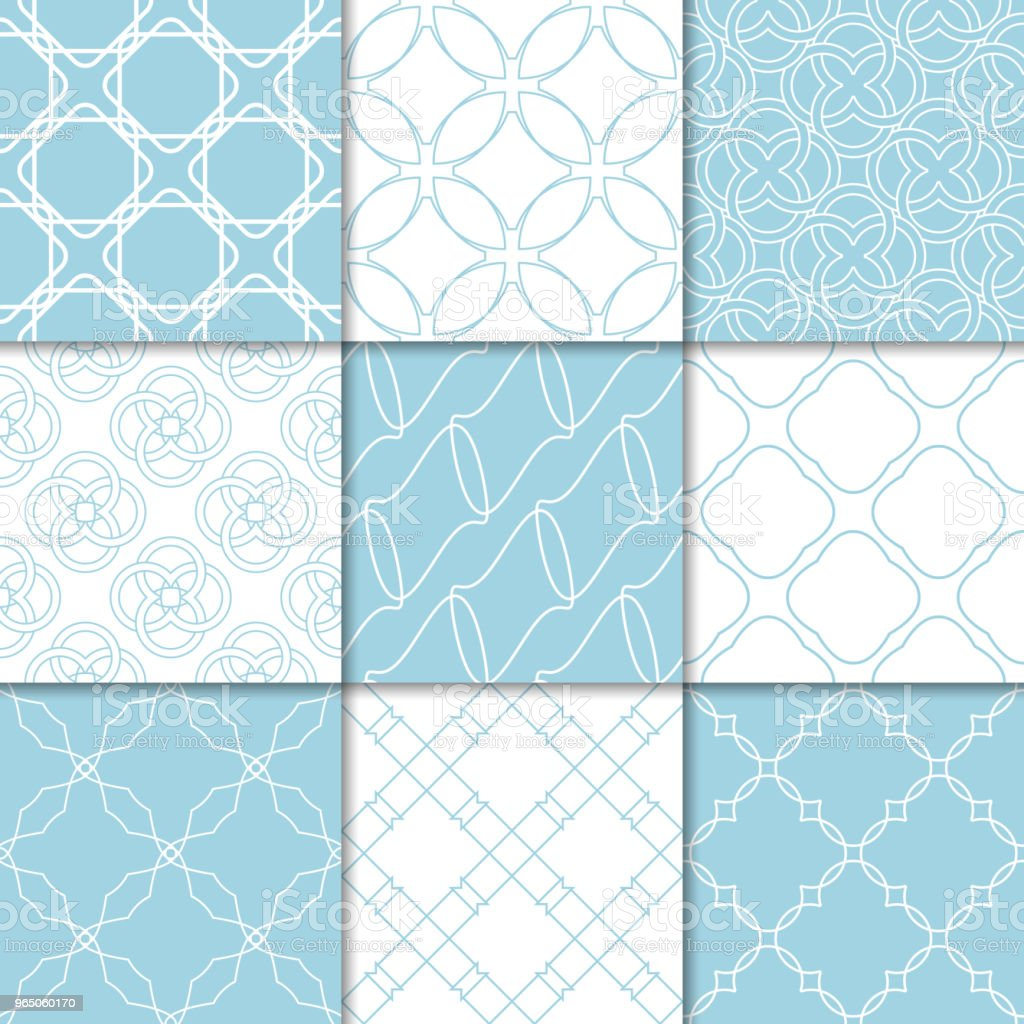 Blue and white geometric ornaments. Collection of seamless patterns royalty-free blue and white geometric ornaments collection of seamless patterns stock vector art & more images of abstract