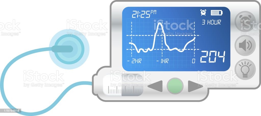 A blue and white insulin pump for diabetes vector art illustration