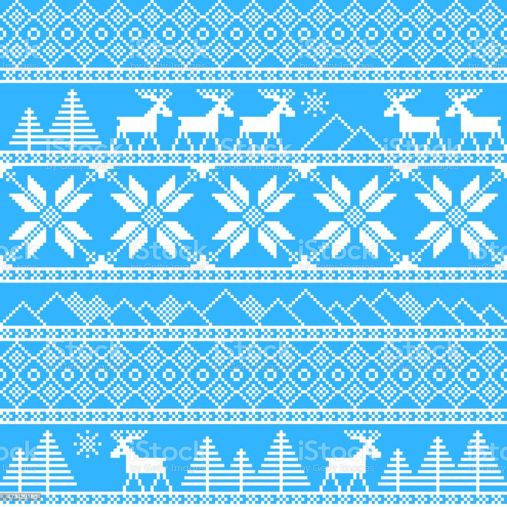 Blue and white knitted pattern of Christmas images vector art illustration