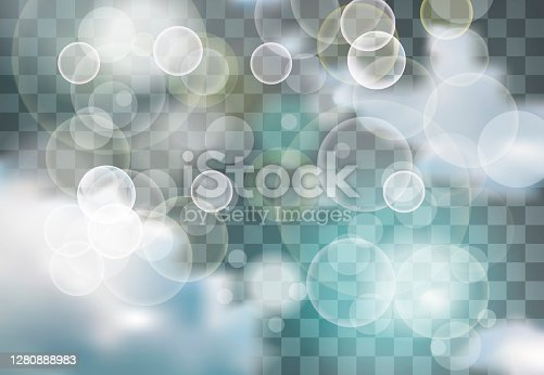 istock Blue and White Lights and clouds in Sky with festive light beams 1280888983