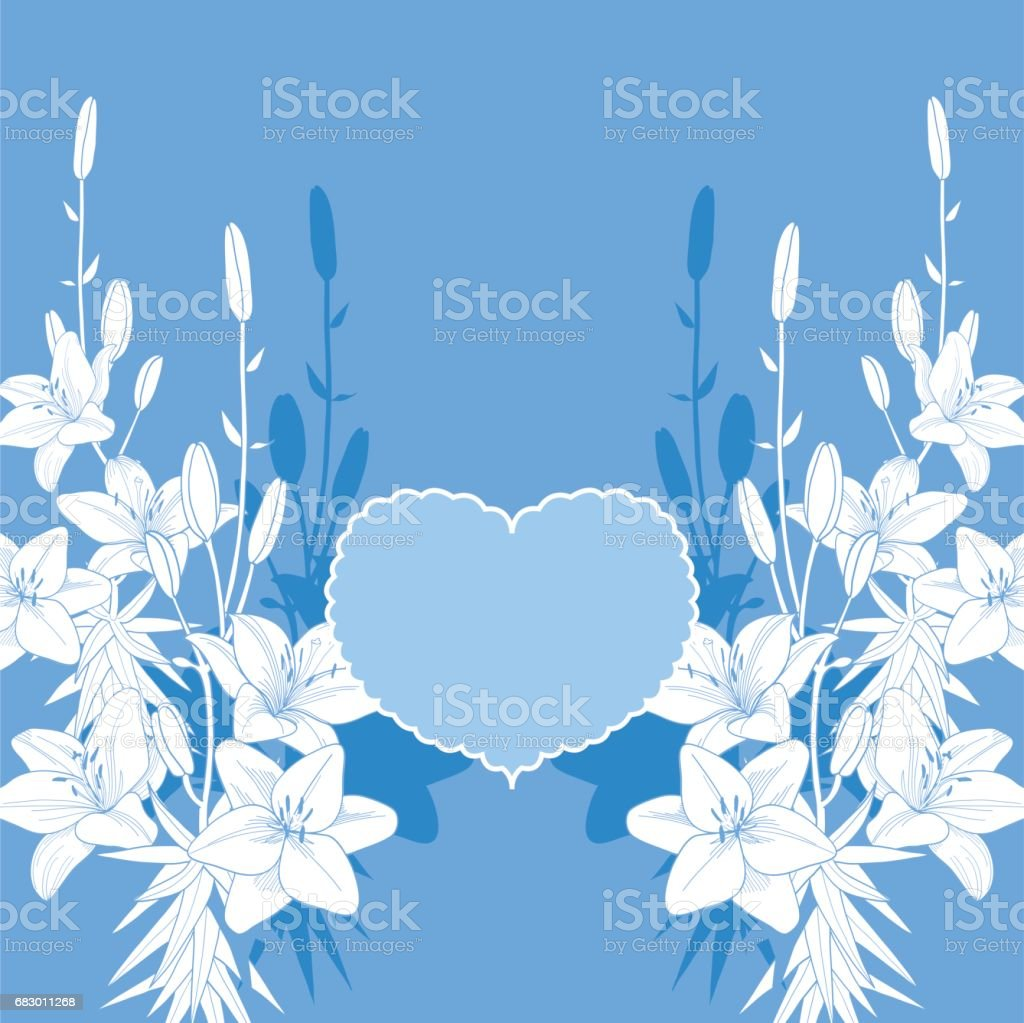 Blue and white lily vector love card. Wedding invitation template royalty-free blue and white lily vector love card wedding invitation template stock vector art & more images of art