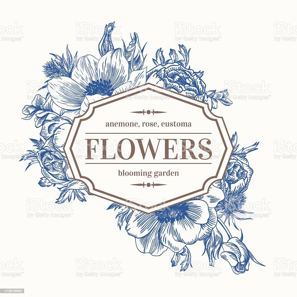 A blue and white line art frame of flowers vector art illustration