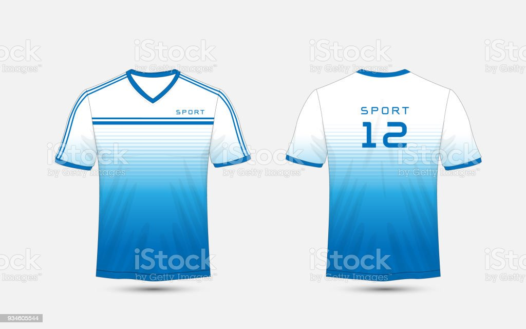 Blue And White Lines Layout Football Sport Tshirt Kits Jersey Shirt