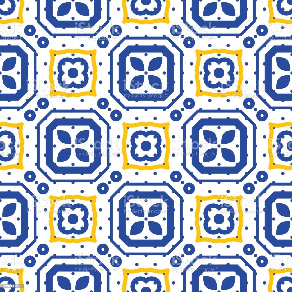 Blue And White Mediterranean Seamless Ceramic Tile Pattern Stock ...