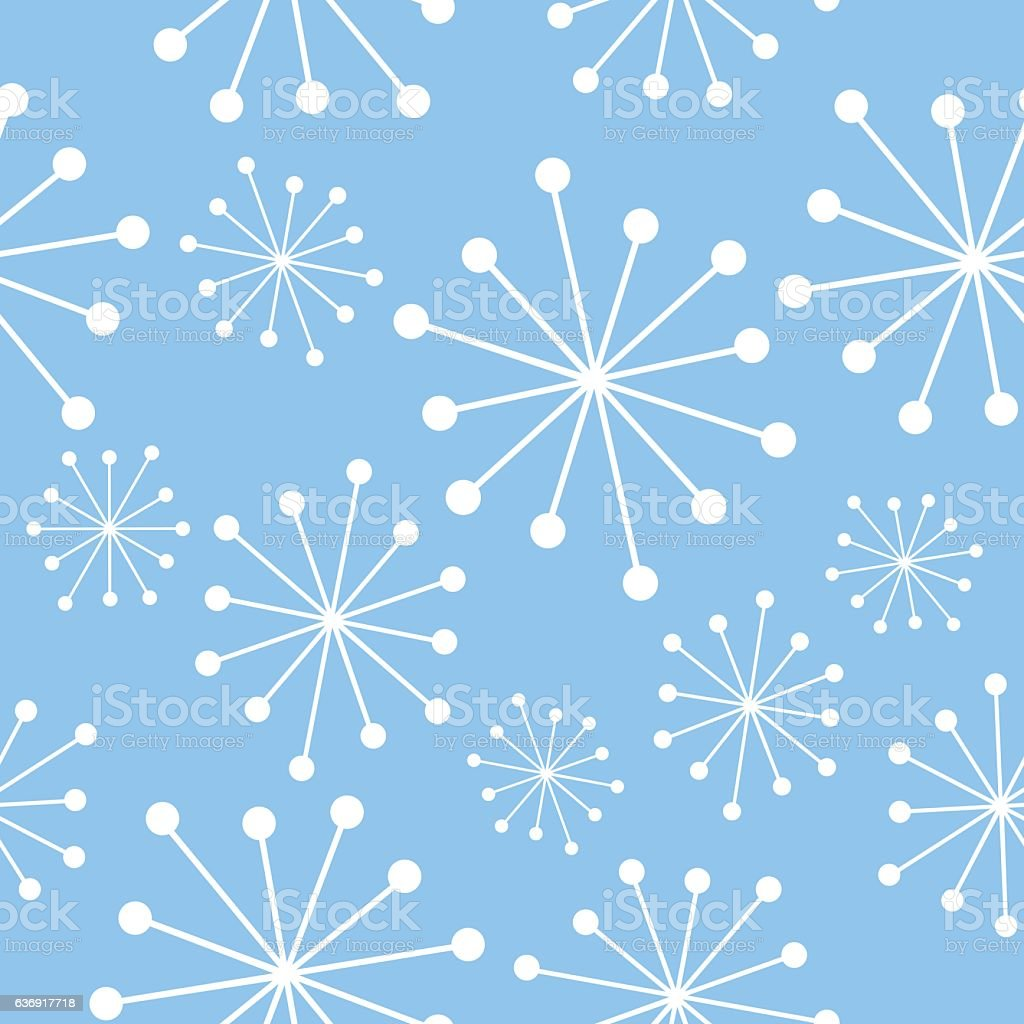 Blue And White Mid Century Pattern vector art illustration