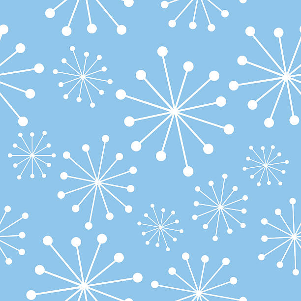 Blue And White Mid Century Pattern Vector seamless pattern of mid century bursts on a blue background. kitsch stock illustrations