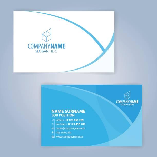 파란색과 흰색 현대 비즈니스 카드 템플릿 - 명함 stock illustrations