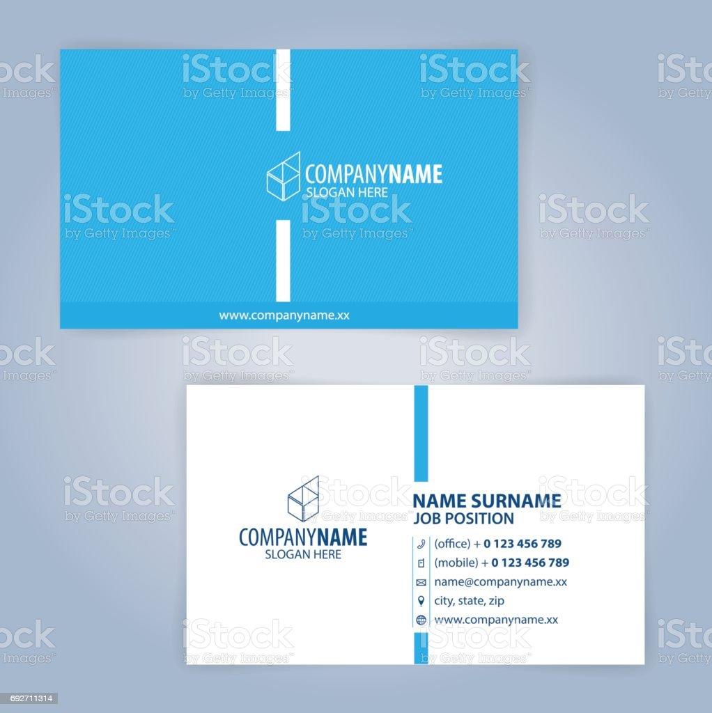Modele De Carte Visite Moderne Bleu Et Blanc