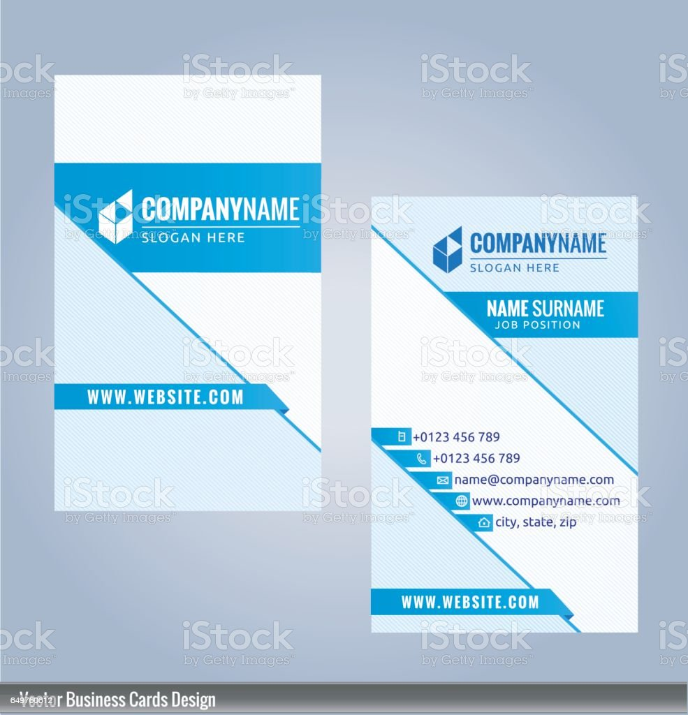Blue And White Modern Business Card Vertical Template Illustration