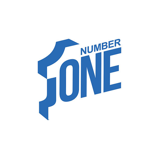 bildbanksillustrationer, clip art samt tecknat material och ikoner med blue and white number one diagonal logo template - nummer 1