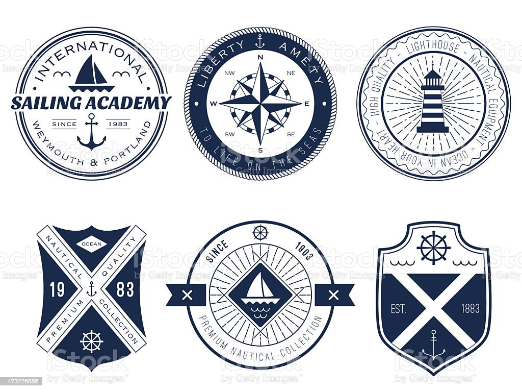 Blue And White Sailing And Maritime Symbols And Logos ...