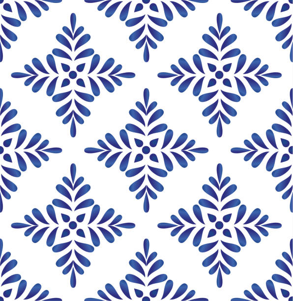 ilustrações de stock, clip art, desenhos animados e ícones de blue and white seamless pattern vector - mosaicos flores